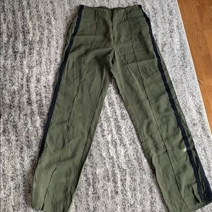 Pants with side stripe and zippers